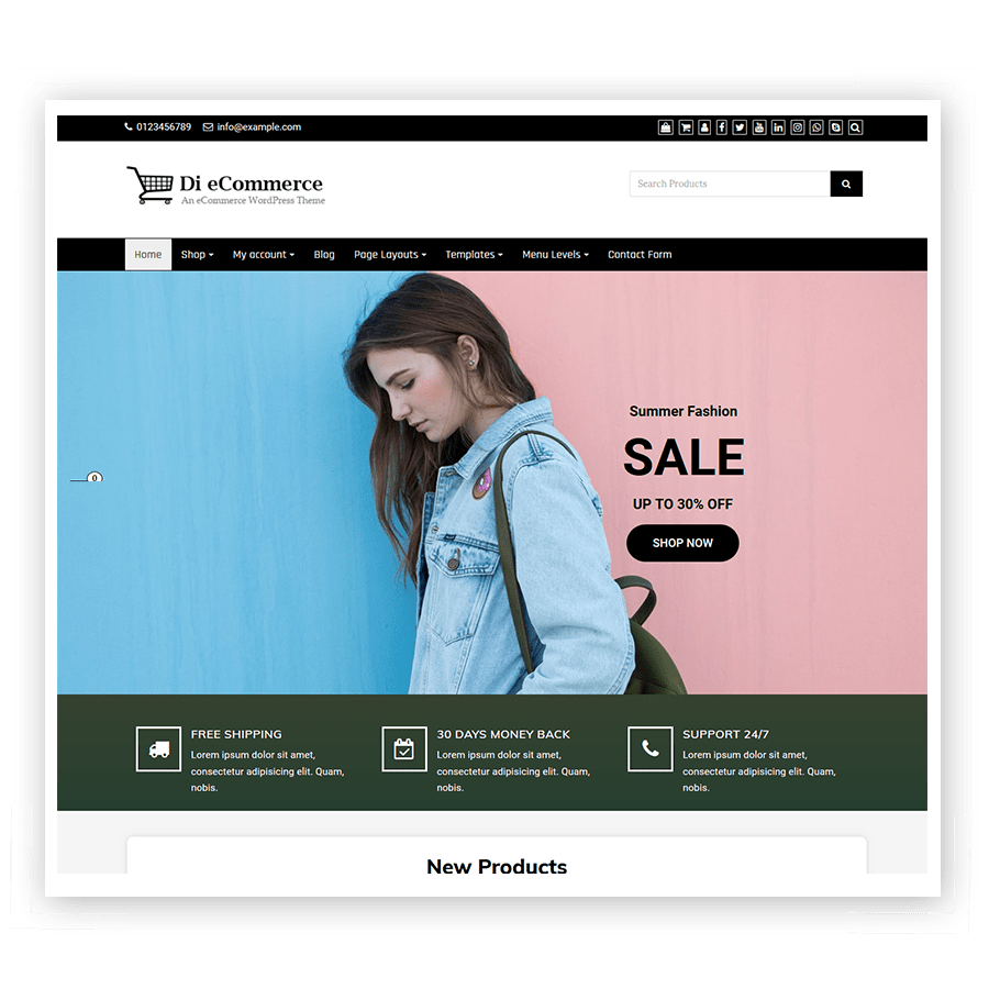 Di eCommerce Theme for online product selling and services.