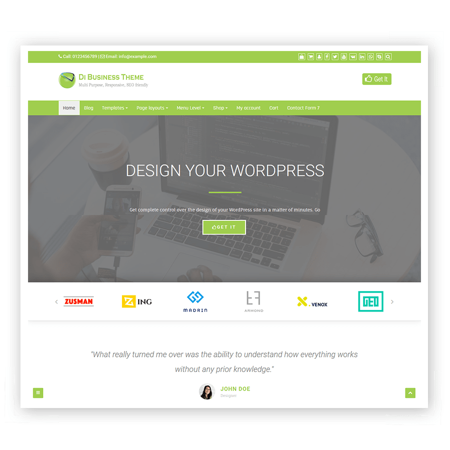 Di Business Theme, the Free WordPress Themes for your dynamite websites.