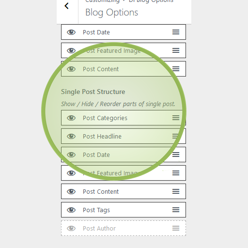 Multipurpose theme blog options